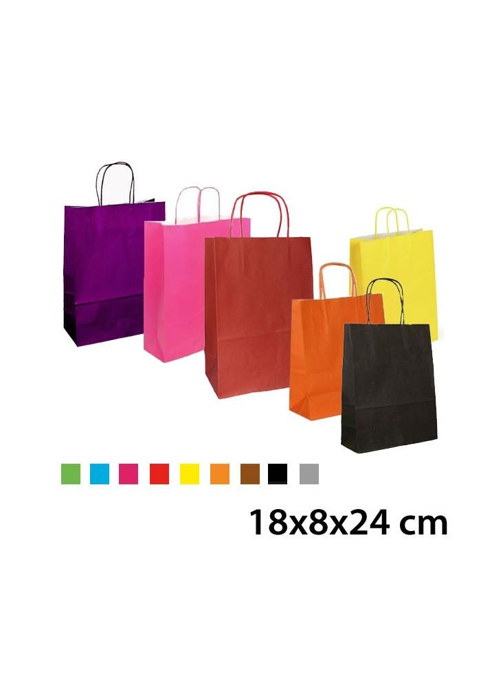 Sac kraft couleur 18x8x24 cm - Sac en papier kraft ...