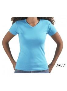objet publicitaire - promenoch - Tee-shirt Col V  - Tee-shirt Femme M. Courtes
