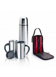 objet publicitaire - promenoch - Thermos + 2 Mugs + Sac  - Thermos Personnalisé
