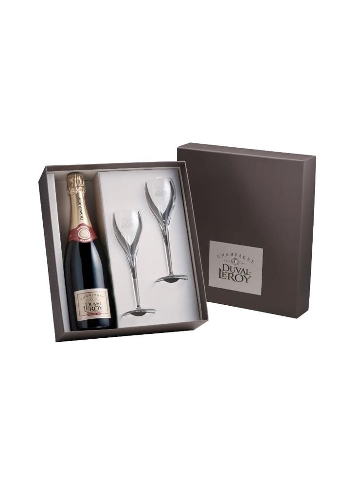 Champagne Duval Leroy Brut 1er Cru + 2 Flûtes  publicitaire