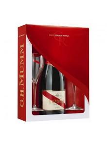 objet publicitaire - promenoch - Champagne Mumm Cordon Rouge Brut + 2 flûtes  - Champagne Coffret