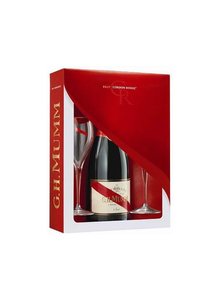 Champagne Mumm Cordon Rouge Brut  + 2 flûtes  publicitaire