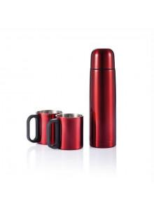 objet publicitaire - promenoch - Bouteille Isotherme 2 Mugs  - Thermos Personnalisé