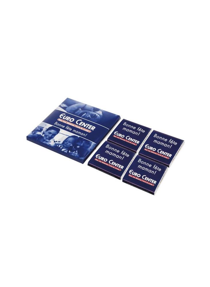 Boîte 4 Carrés de Chocolat  publicitaire