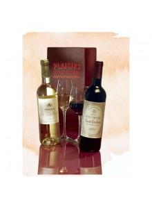 objet publicitaire - promenoch - Coffret 2 Bouteilles de Vin  - Panier Gourmand