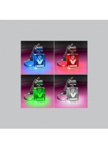 objet publicitaire - promenoch - PORTE-CLÉS Lumineux LED Rectangulaire  - Cristal - Verre lumineux