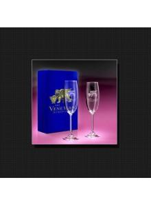 objet publicitaire - promenoch - Coffret flûte à champagne publicitaire  - Cristal - Verre lumineux