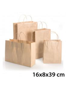 objet publicitaire - promenoch - Sac Kraft Brun 16x8x39 cm  - Sac Kraft Brun Blanc