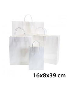 objet publicitaire - promenoch - Sac Kraft Blanc 16x8x39 cm  - Sac Kraft Brun Blanc