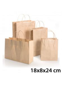 objet publicitaire - promenoch - Sac Kraft Brun 18x8x24 cm  - Sac Kraft Brun Blanc