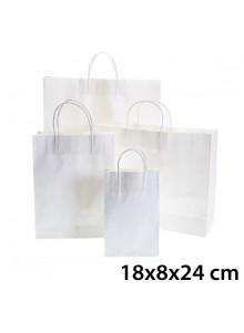 objet publicitaire - promenoch - Sac Kraft Blanc 18x8x24 cm  - Sac Kraft Brun Blanc