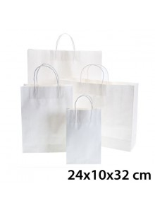 objet publicitaire - promenoch - Sac Kraft Blanc 24x10x32 cm  - Sac Kraft Brun Blanc