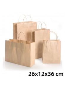 objet publicitaire - promenoch - Sac Kraft Brun 26X12X36 cm  - Sac Kraft Brun Blanc