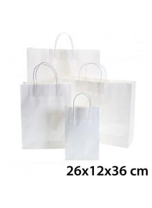objet publicitaire - promenoch - Sac Kraft Blanc 26x12x36 cm  - Sac Kraft Brun Blanc