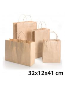 objet publicitaire - promenoch - Sac Kraft Brun 32x12x41 cm  - Sac Kraft Brun Blanc
