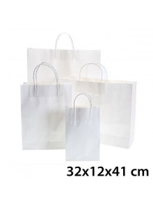 objet publicitaire - promenoch - Sac Kraft Blanc 32x12x41 cm  - Sac Kraft Brun Blanc