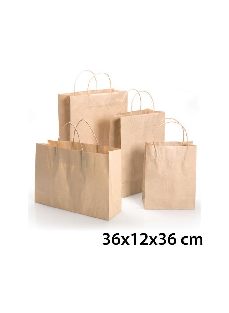 objet publicitaire - promenoch - Sac Kraft Brun 36x12x36 cm  - Sac Kraft Brun Blanc