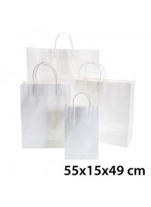 objet publicitaire - promenoch - Sac Kraft Blanc 55x15x49 cm  - Sac Kraft Brun Blanc
