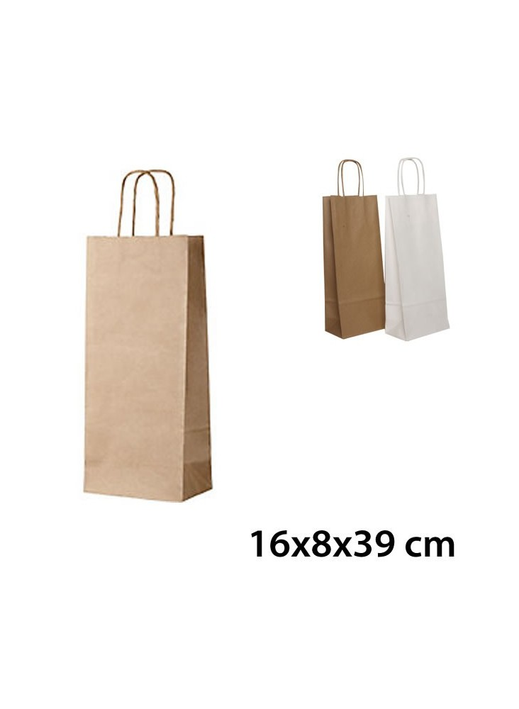 sac kraft bouteille vin 16x8x39 cm sac papier kraft personnalis. Black Bedroom Furniture Sets. Home Design Ideas