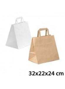 objet publicitaire - promenoch - Grand Sac Kraft Traiteur  - Sac Kraft Brun Blanc