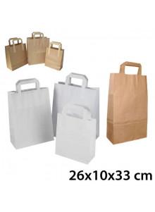 objet publicitaire - promenoch - Sac Kraft Anses Plates 26x10x33 cm  - Sac Kraft Brun Blanc