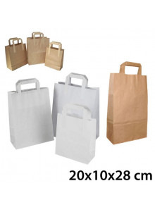 objet publicitaire - promenoch - Sac Kraft Anses Plates 20x10x28 cm  - Sac Kraft Brun Blanc