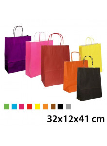 objet publicitaire - promenoch - Sac Kraft Couleur 32x12x41 cm  - Sac Kraft Brun Blanc