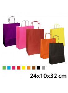 objet publicitaire - promenoch - Sac Kraft Couleur 24x10x32 cm  - Sac Kraft Brun Blanc