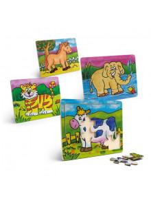 objet publicitaire - promenoch - 4 Puzzles Bois 12 Pièces  - Crèche collectivité petite enfance