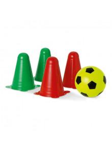 objet publicitaire - promenoch - Ballon de Football + 4 Cônes  - Crèche collectivité petite enfance