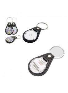 objet publicitaire - promenoch - Porte-clés rond en métal et PU  - Porte-clés Publicitaire