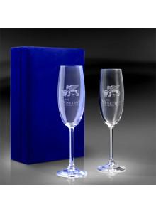objet publicitaire - promenoch - Coffret 2 Flûtes Champagne + Gravure Laser  - Cristal - Verre lumineux