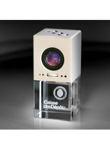 objet publicitaire - promenoch - Lecteur MP3 & HP Luxe + Gravure  - Cristal - Verre lumineux
