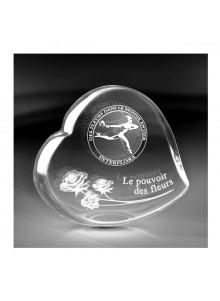 objet publicitaire - promenoch - Trophée Coeur + Gravure  - Cristal - Verre lumineux
