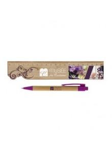 objet publicitaire - promenoch - Kit écriture Règle Bambou avec stylo  - Nouveautés Promenoch
