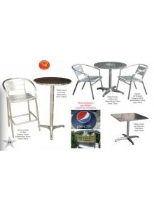 objet publicitaire - promenoch - Tables et chaises aluminium/acier pour snack  - Accueil