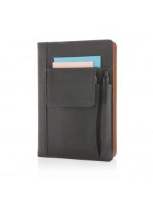 objet publicitaire - promenoch - Carnet de notes avec pochette pour téléphone, noir  - Accueil