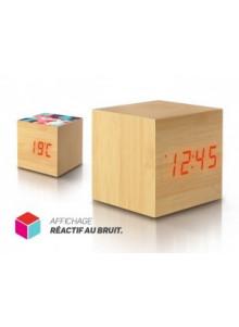 objet publicitaire - promenoch - PENDULETTE REVEIL CUBE DE BOIS  - Accueil