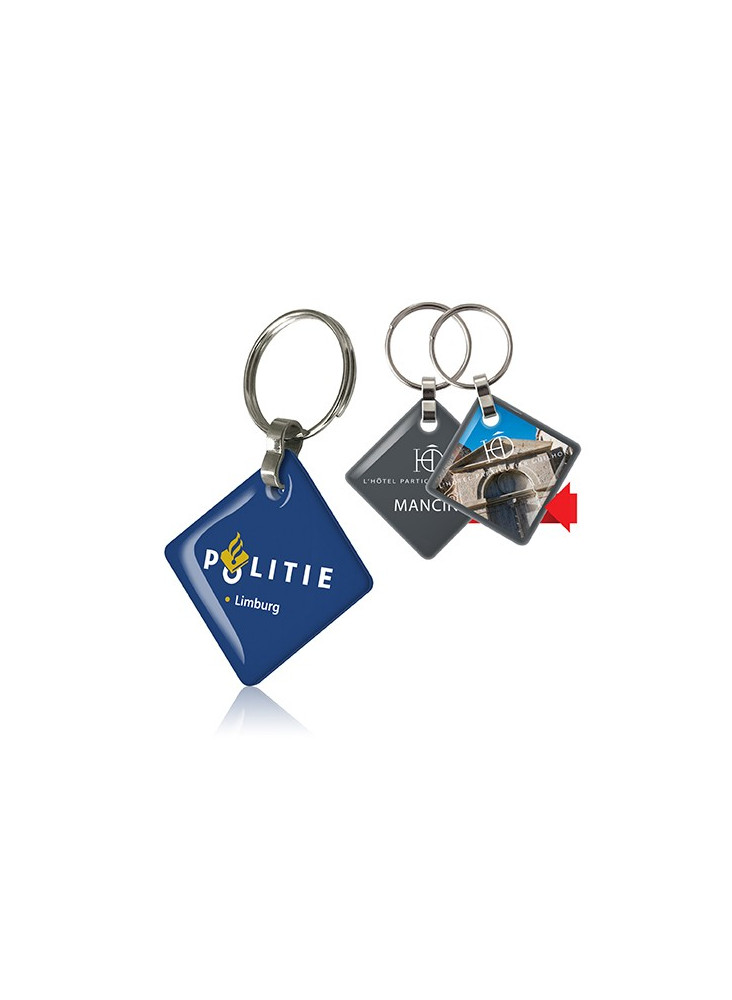 Porte-clefs 2 DOMING carré  publicitaire