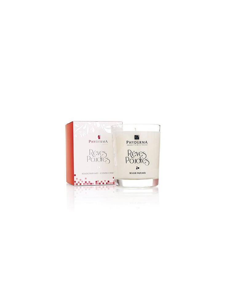 Bougie parfumée RÊVES POUDRÉS de PHYDERMA PARIS  publicitaire