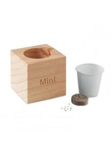 objet publicitaire - promenoch - Pot en bois publicitaire avec graines de menthe  - Accueil