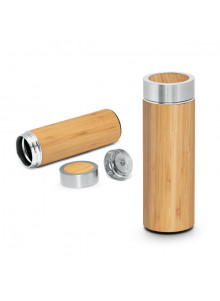 objet publicitaire - promenoch - Bouteille bambou avec infuseur  - Mugs et Thermos