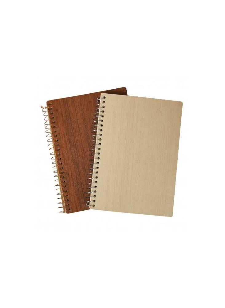 Carnet A5 à spirales aspect bois écologique publicitaire