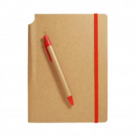 Cahier de notes A5 écologique couleur et stylo encre bleue publicitaire