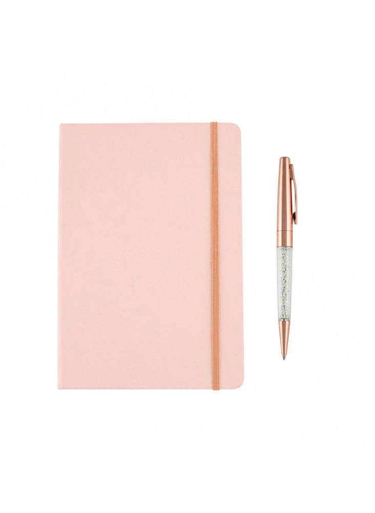Set de carnet et stylo rose personnalisé  publicitaire