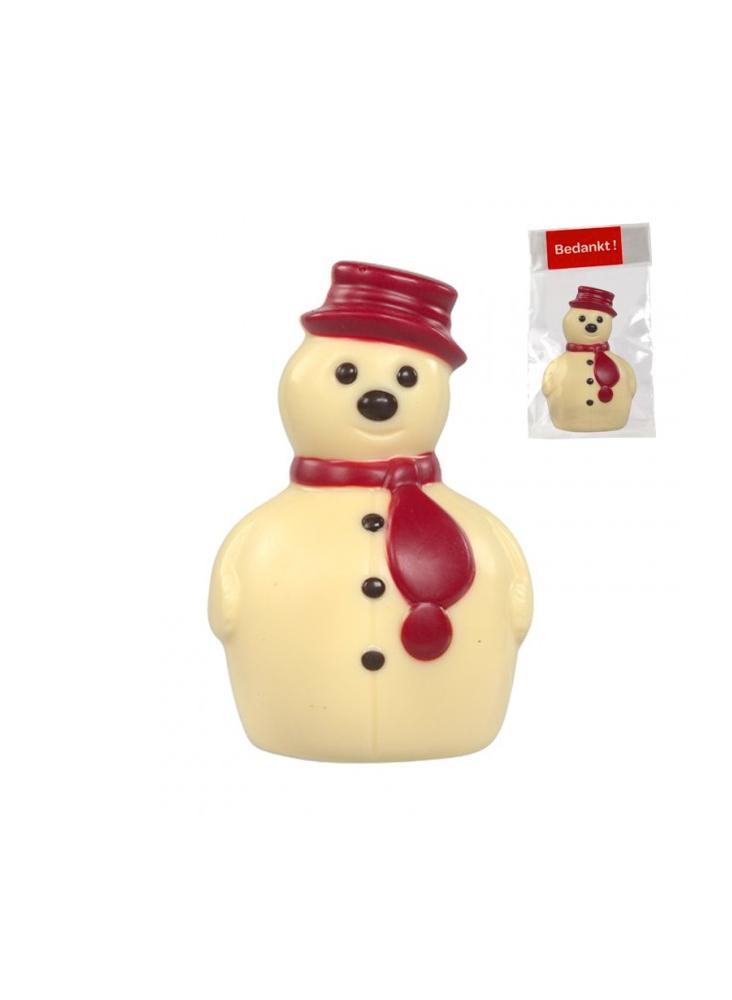 Bonhomme de neige en chocolat belge personnalisé  publicitaire