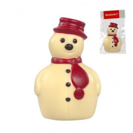 Bonhomme de neige en chocolat belge personnalisé