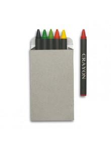 objet publicitaire - promenoch - 6 Crayons de Couleurs Cire  - Stylo Bille Publicitaire