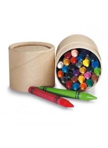 objet publicitaire - promenoch - 30 Crayons de Couleurs Cire  - Stylo Bille Publicitaire