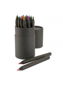 objet publicitaire - promenoch - 24 Crayons de Couleurs  - Stylo Bille Publicitaire